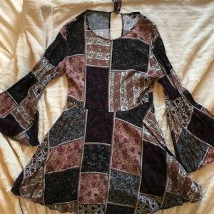 Bell-sleeve, patch work print, boho dress